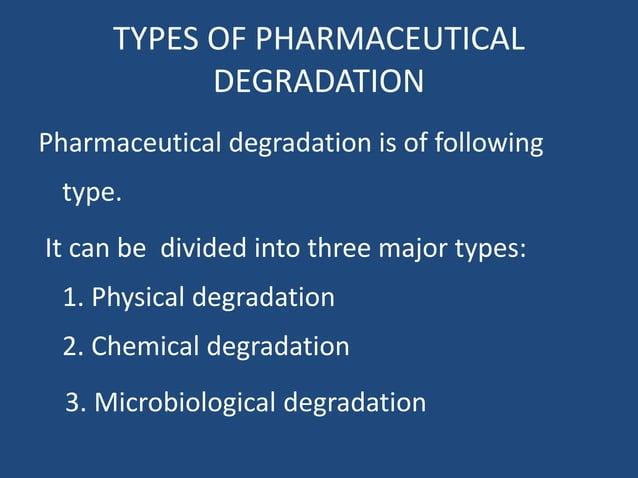TYPES OF PHARMACEUTICAL DEGRADATION Pharmaceutical degradation is of following type. It can be divided into three major ty...