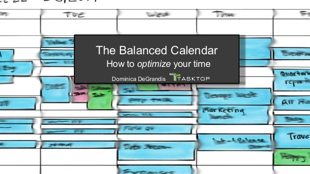 The Balanced Calendar How to optimize your time Dominica DeGrandis