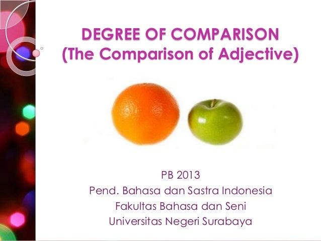 DEGREE OF COMPARISON (The Comparison of Adjective)  PB 2013 Pend. Bahasa dan Sastra Indonesia Fakultas Bahasa dan Seni Uni...