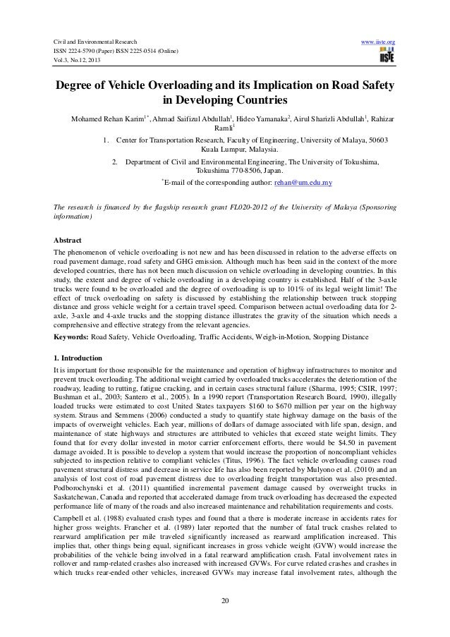 Civil and Environmental Research ISSN 2224-5790 (Paper) ISSN 2225-0514 (Online) Vol.3, No.12, 2013  www.iiste.org  Degree ...