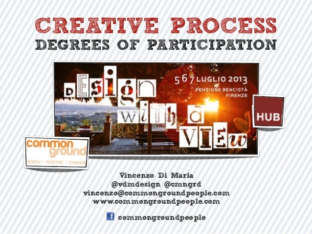 CREATIVE PROCESS DEGREES OF PARTICIPATION Vincenzo Di Maria @vdmdesign @cmngrd vincenzo@commongroundpeople.com www.commong...