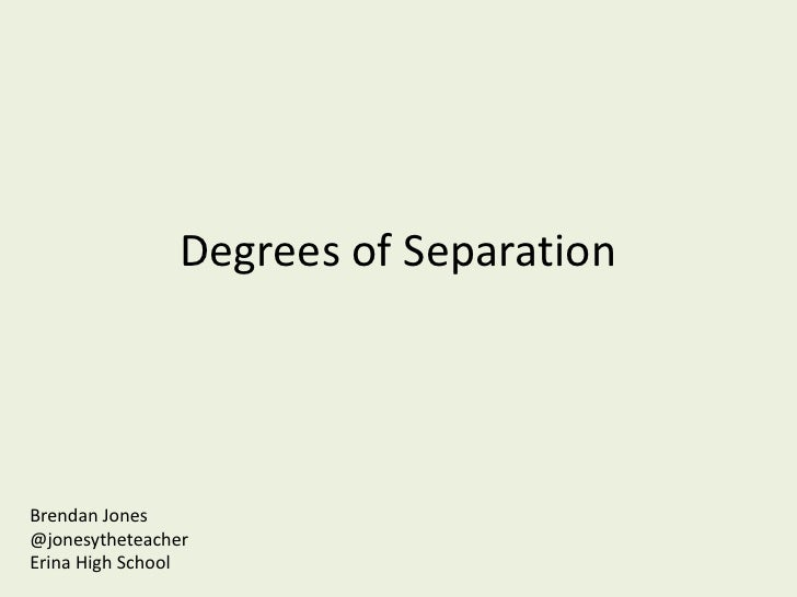 Degrees of SeparationBrendan Jones@jonesytheteacherErina High School