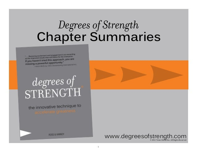 Degrees of Strength Chapter Summaries  www.degreesofstrength.com © 2012 Verus Global Inc. All Rights Reserved.  1