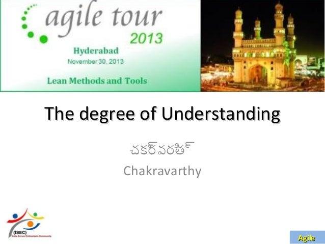 The degree of Understanding చక్ర వరి ్ర ్ర త Chakravarthy  Agile