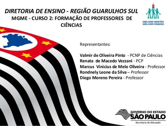 Secretaria da Educação do Estado de São Paulo CGEB/EFAP DIRETORIA DE ENSINO - REGIÃO GUARULHOS SUL MGME - CURSO 2: FORMAÇÃ...