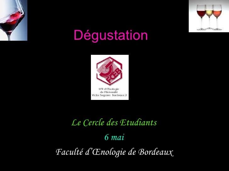 Dégustation         Le Cercle des Etudiants              6 mai Faculté d'Œnologie de Bordeaux