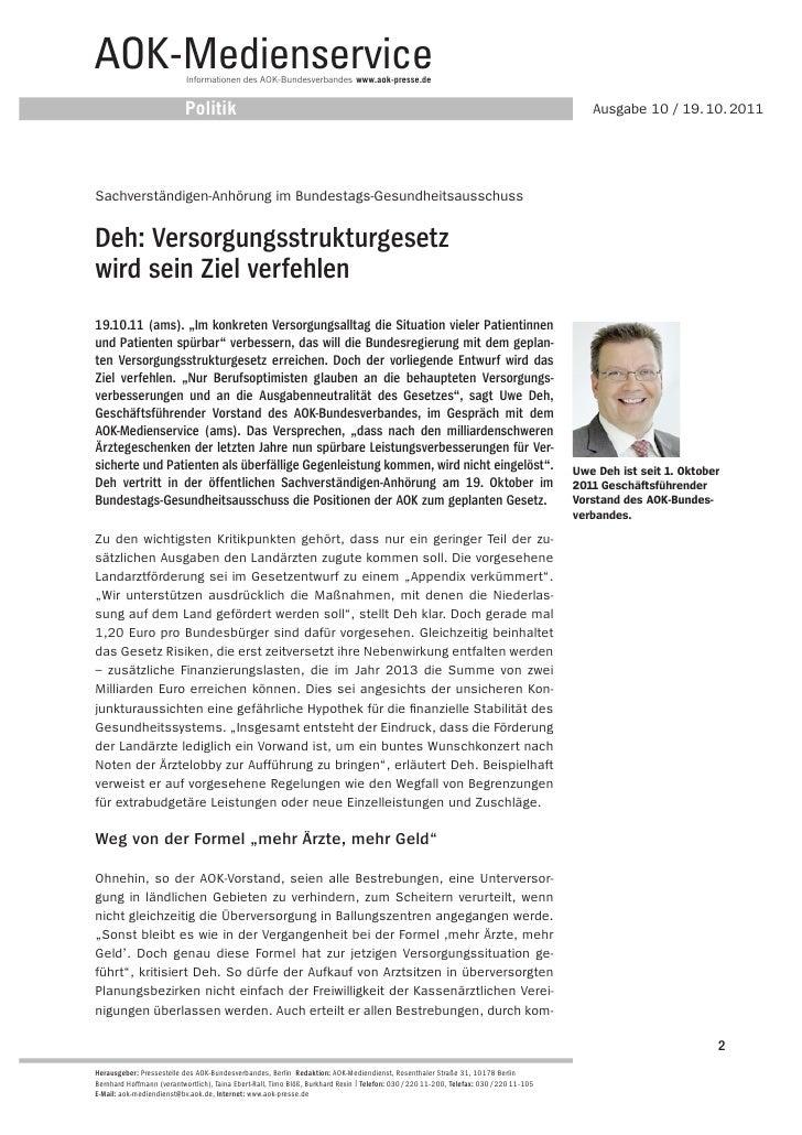 AOK-Medienservice          Informationen des AOK-Bundesverbandes www.aok-presse.de                           Politik      ...