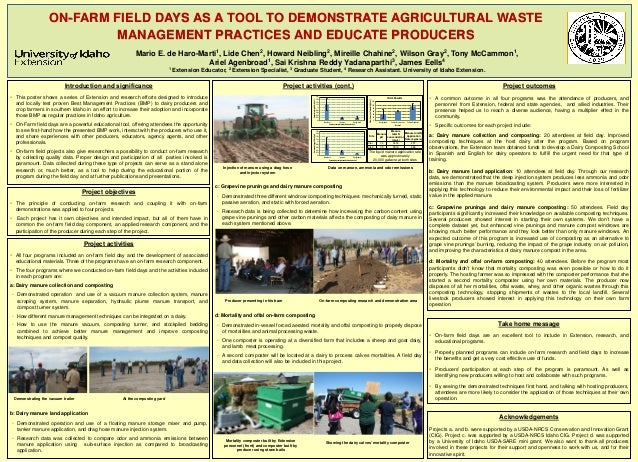 Project activities All four programs included an on-farm field day and the development of associatededucational materials...