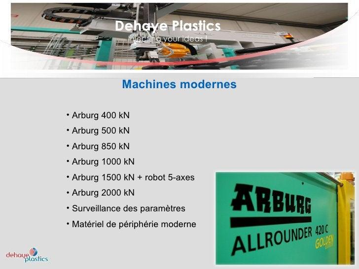 Dehaye Plastics Injecting your ideas ! Dehaye Plastics <ul><ul><li>Arburg 400 kN </li></ul></ul><ul><ul><li>Arburg 500 kN ...