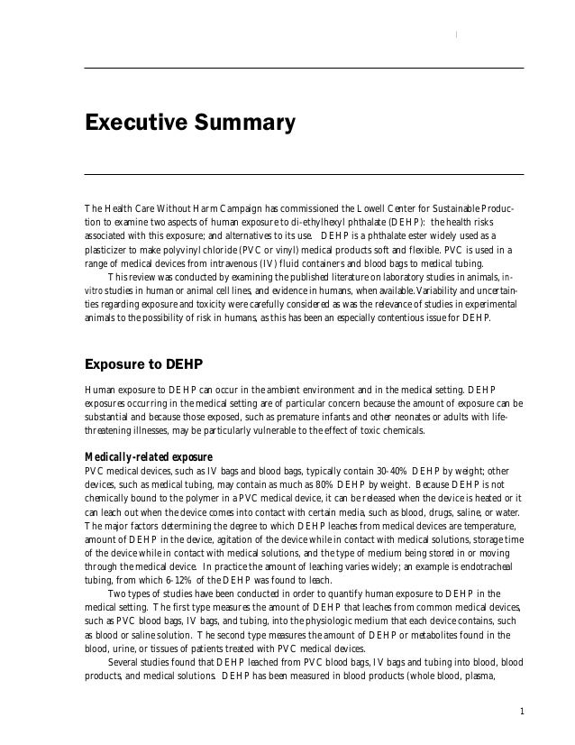 1 Executive Summary The Health Care Without Harm Campaign has commissioned the Lowell Center for Sustainable Produc- tion ...