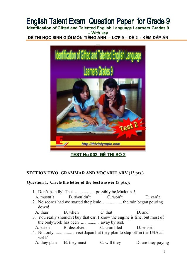 Identifcation of Gifted and Talented English Language Learners Grades 9                                – With key ĐỀ THI H...
