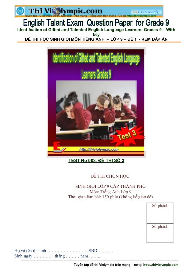 Identifcation of Gifted and Talented English Language Learners Grades 9 – With                                        key ...