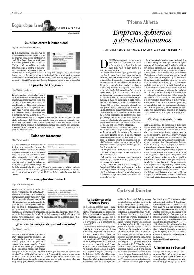 4 IRITZIA Sábado, 2 de noviembre de 2013 Deia Cuchillas contra la humanidad http://twitter.com/AntonioMaestre El gobierno ...