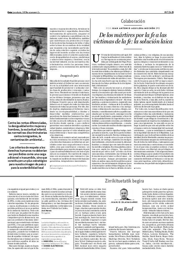 Deia Larunbata, 2013ko azaroaren 2a IRITZIA 5Deia Larunbata, 2013ko azaroaren 2 IRITZIA 5 U N total de 522 mártires del si...