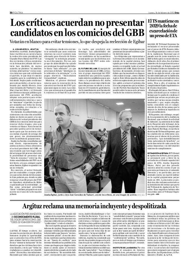 30 POLITIKA Jueves, 16 de febrero de 2012 Deia MADRID. El Tribunal Supremo ha rechazado el recurso presentado por el preso...