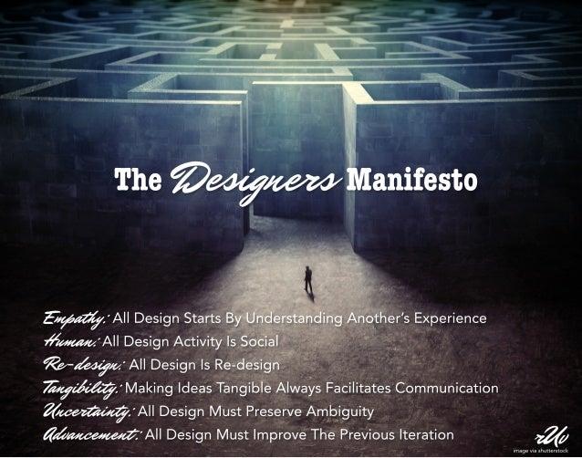 TheDesignersManifesto rUv Empathy:AllDesignStartsByUnderstandingAnother'sExperience Human:AllDesignActivityIsSocial Re-des...