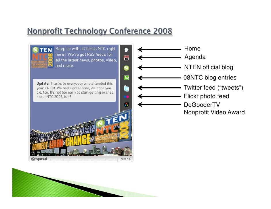 "Home Agenda NTEN official blog 08NTC blog entries Twitter feed (""tweets"") Flickr photo feed DoGooderTV Nonprofit Video Award"