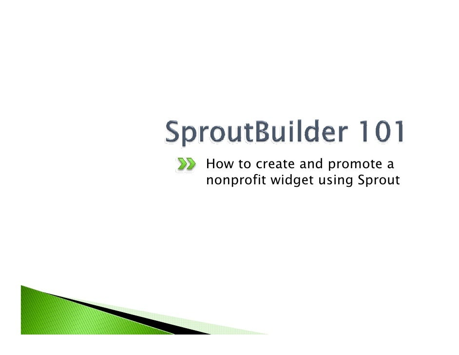 How to create and promote a nonprofit widget using Sprout