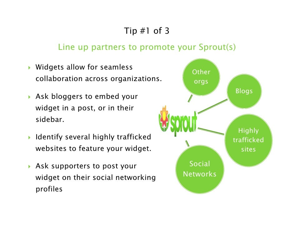 Tip #3 of 3    Track your Sprouts and keep them updated                                vs.  Long after you put your widget...