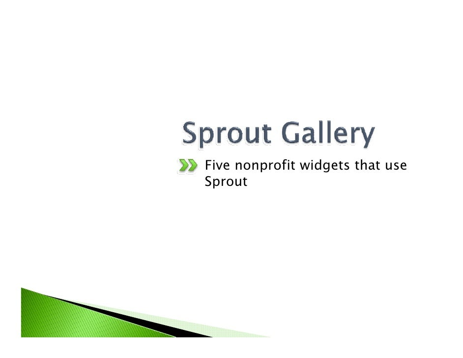 Five nonprofit widgets that use Sprout