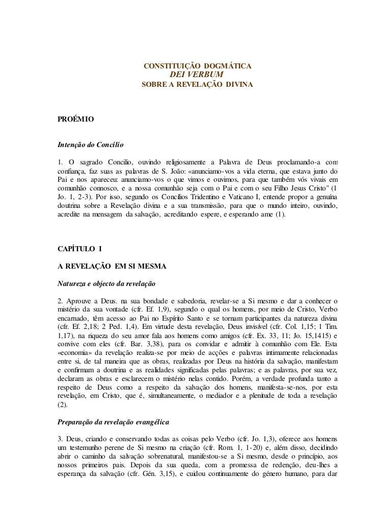 CONSTITUIÇÃO DOGMÁTICA                                      DEI VERBUM                            SOBRE A REVELAÇÃO DIVINA...