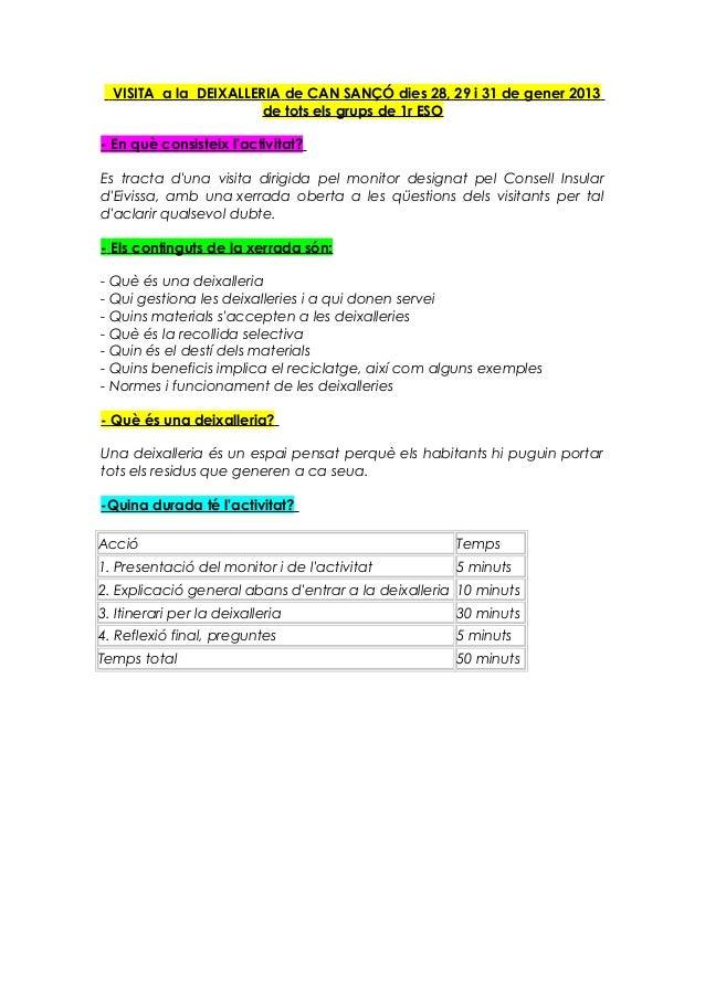VISITA a la DEIXALLERIA de CAN SANÇÓ dies 28, 29 i 31 de gener 2013                       de tots els grups de 1r ESO- En ...