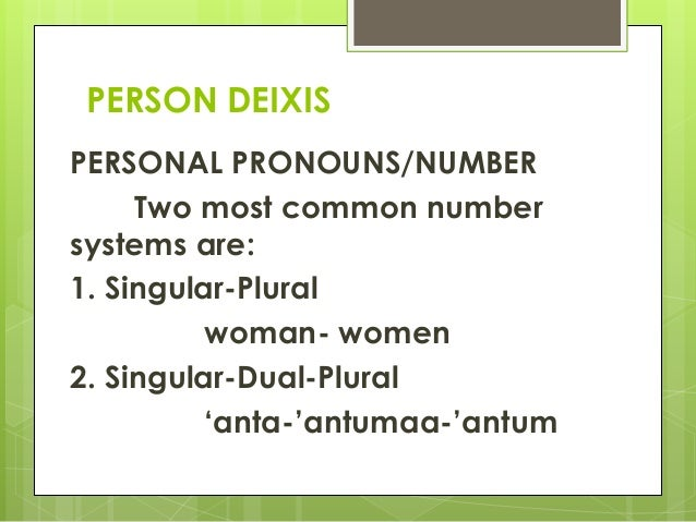 system in deixis The current standard account of hausa deixis claims that hausa has a linear person-based system with the following four locative adverbs and their interpretations: nân 'here', nan 'there.