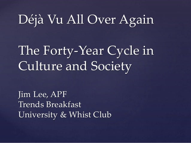 Déjà Vu All Over Again The Forty-Year Cycle in Culture and Society Jim Lee, APF Trends Breakfast University & Whist Club