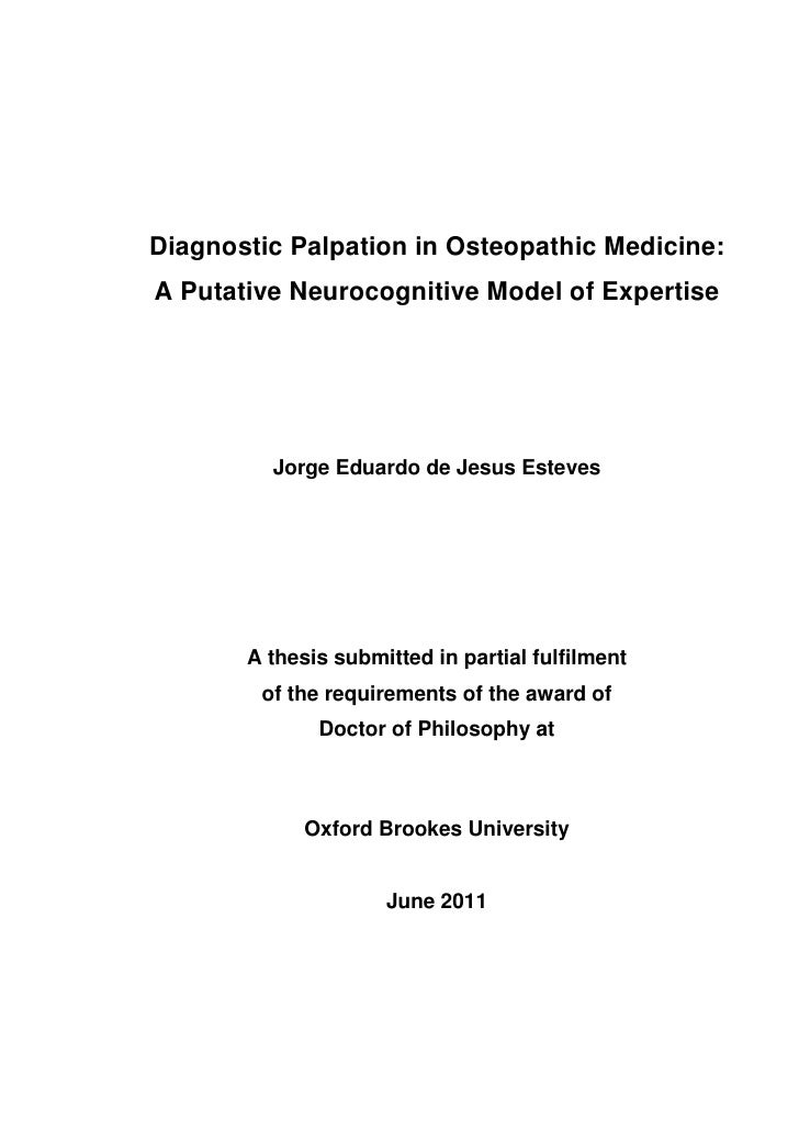 Diagnostic Palpation in Osteopathic Medicine