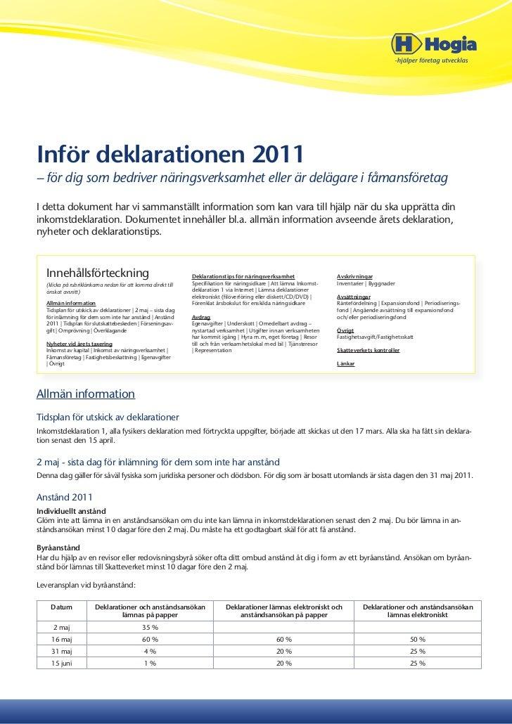 sista dag för deklaration