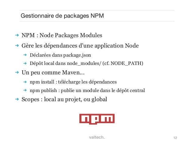 12Gestionnaire de packages NPM NPM : Node Packages Modules Gère les dépendances dune application Node Déclarées dans pa...