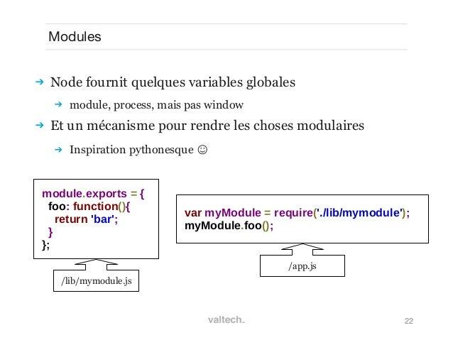 22Modules Node fournit quelques variables globales module, process, mais pas window Et un mécanisme pour rendre les cho...