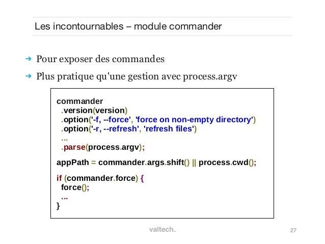 27Les incontournables – module commander Pour exposer des commandes Plus pratique quune gestion avec process.argvcommand...