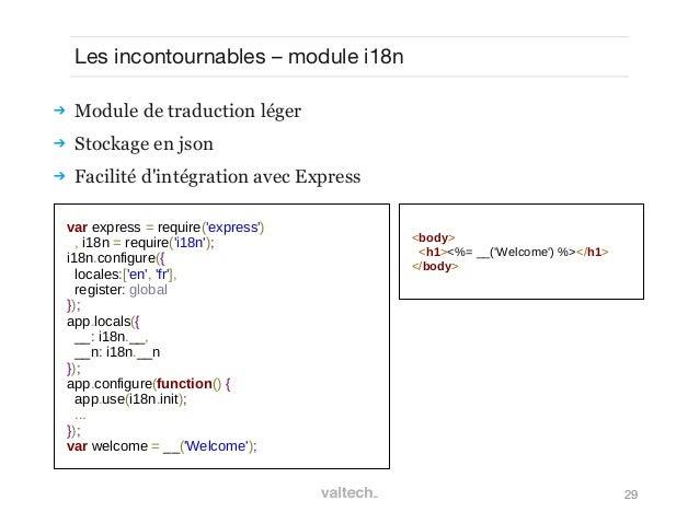 29Les incontournables – module i18n Module de traduction léger Stockage en json Facilité dintégration avec Expressvar e...