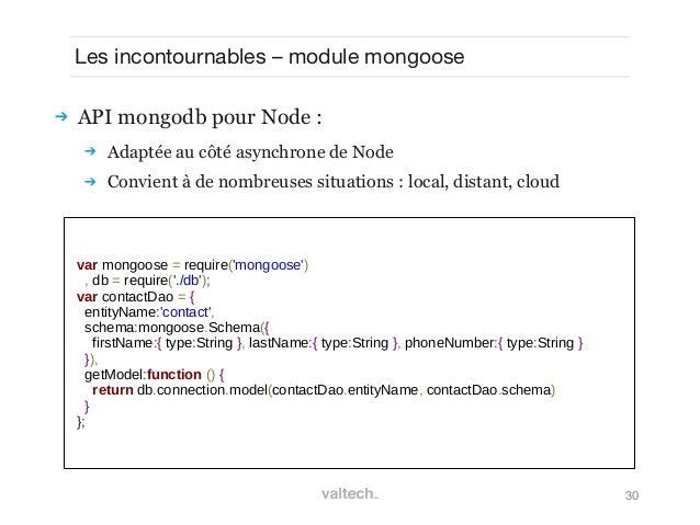30Les incontournables – module mongoose API mongodb pour Node : Adaptée au côté asynchrone de Node Convient à de nombre...