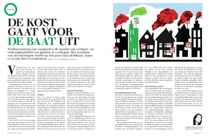 ANALYSEDE KOSTGAAT VOORDE BAAT UITVerduurzaming van vastgoed is dé manier om verhuur- enverkoopbaarheid van panden te verh...