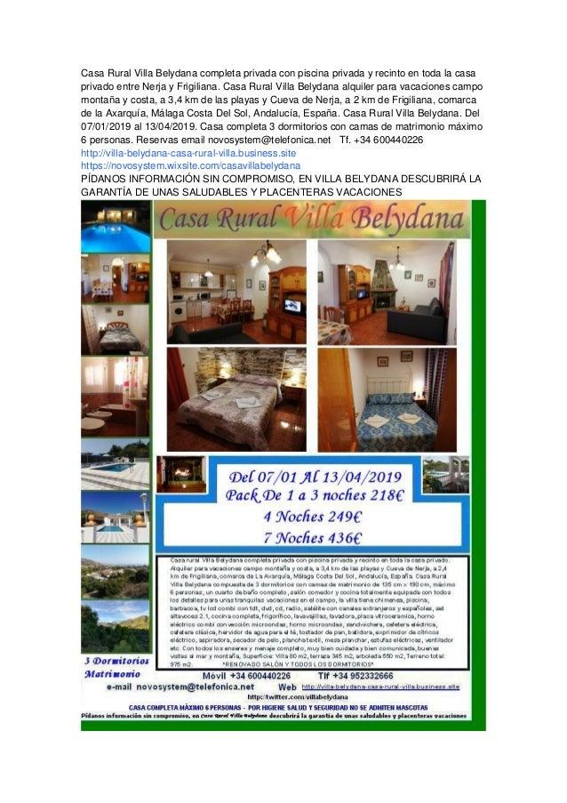 050fad82764e3 Casa Rural Villa Belydana completa privada con piscina privada y recinto en  toda la casa privado