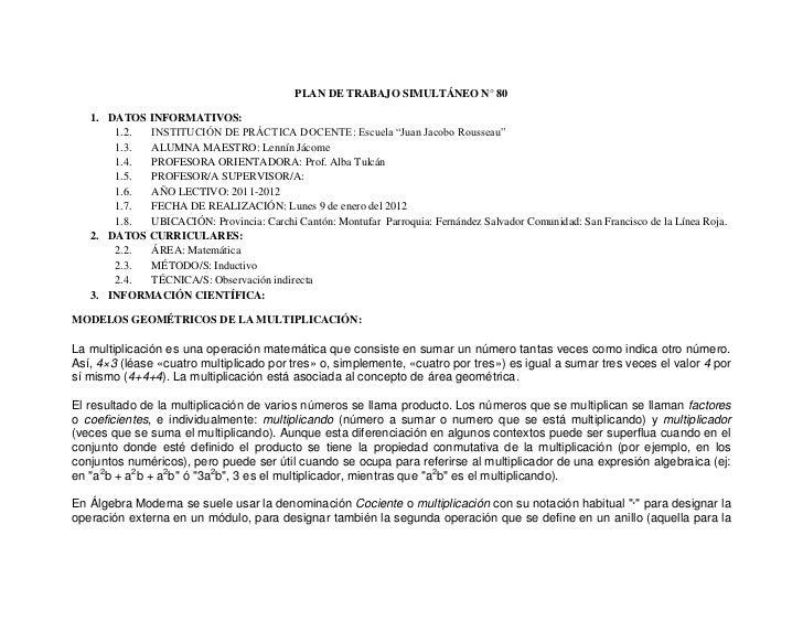 """PLAN DE TRABAJO SIMULTÁNEO N° 80   1. DATOS INFORMATIVOS:       1.2. INSTITUCIÓN DE PRÁCTICA DOCENTE: Escuela """"Juan Jacobo..."""