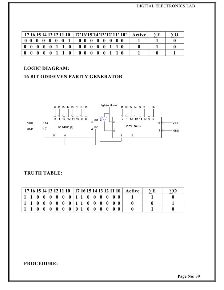 de lab manual  52 logic diagram of a parity generator and checker #7