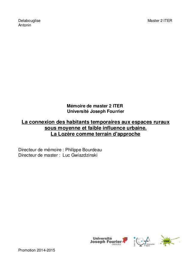Delabouglise Master 2 ITER Antonin Mémoire de master 2 ITER Université Joseph Fourrier La connexion des habitants temporai...