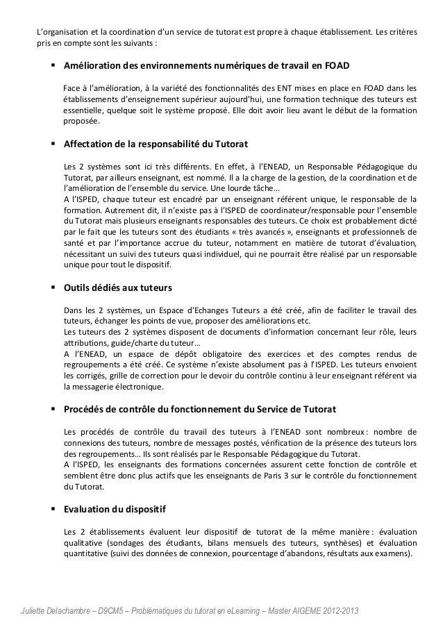 Juliette Delachambre – D9CM5 – Problématiques du tutorat en eLearning – Master AIGEME 2012-2013 L'organisation et la coord...