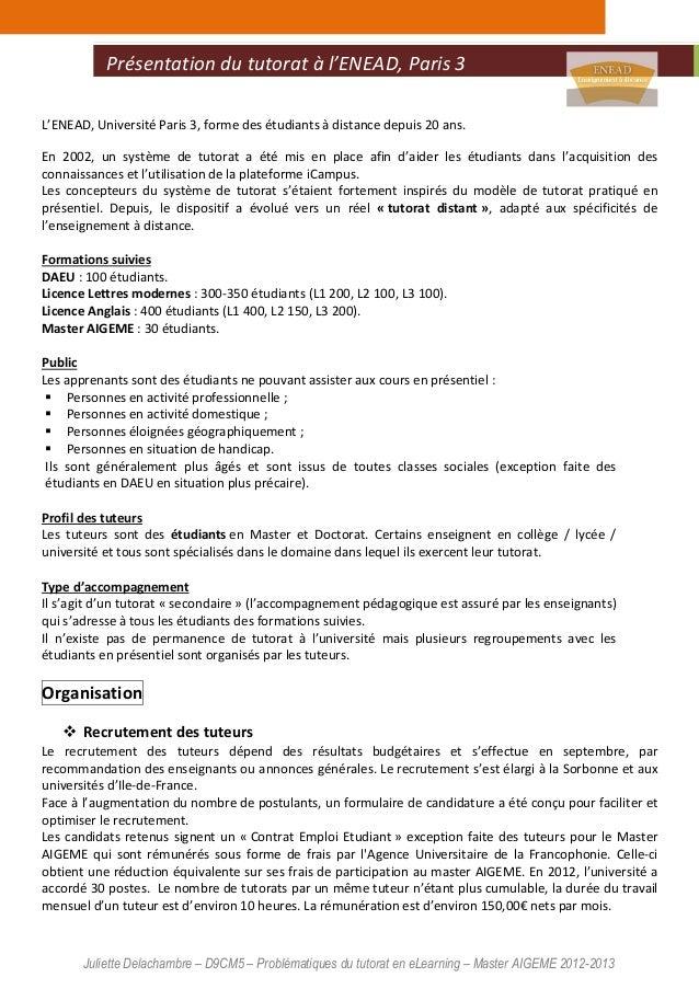 Juliette Delachambre – D9CM5 – Problématiques du tutorat en eLearning – Master AIGEME 2012-2013 L'ENEAD, Université Paris ...