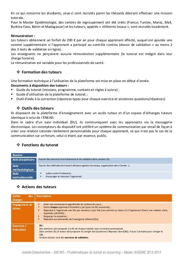 Juliette Delachambre – D9CM5 – Problématiques du tutorat en eLearning – Master AIGEME 2012-2013 En ce qui concerne les étu...