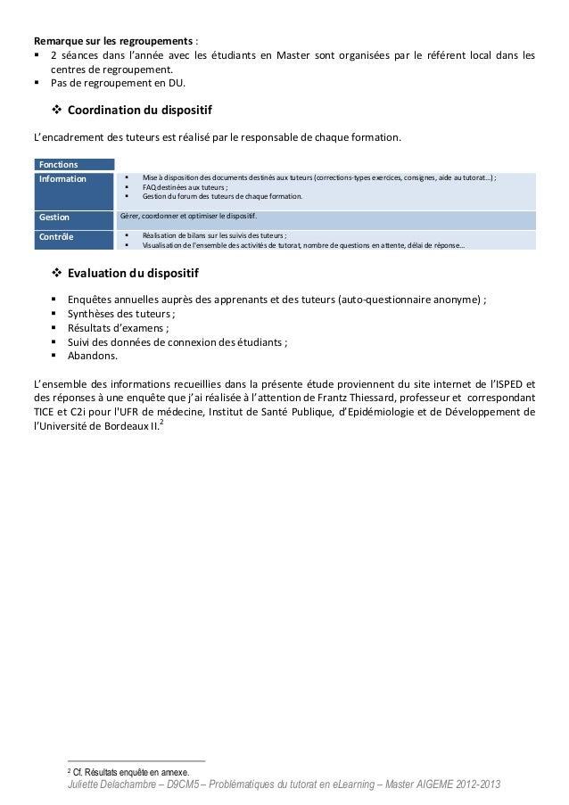 Juliette Delachambre – D9CM5 – Problématiques du tutorat en eLearning – Master AIGEME 2012-2013 Remarque sur les regroupem...