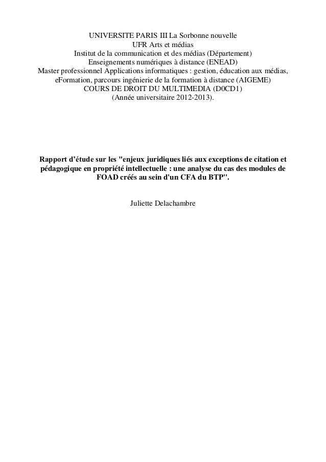UNIVERSITE PARIS III La Sorbonne nouvelle UFR Arts et médias Institut de la communication et des médias (Département) Ense...