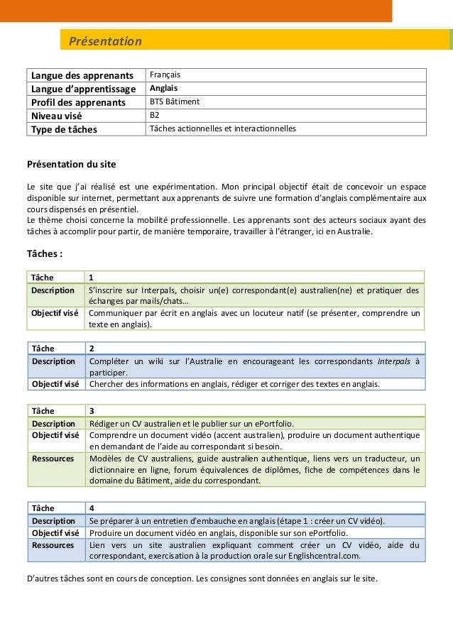 Langue des apprenants Français Langue d'apprentissage Anglais Profil des apprenants BTS Bâtiment Niveau visé B2 Type de tâ...