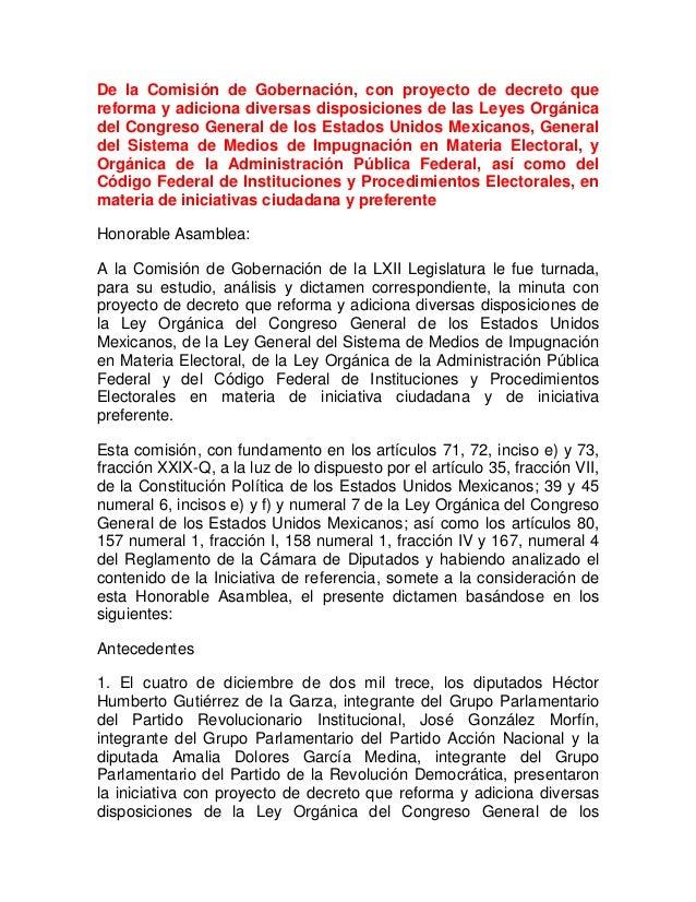 De la Comisión de Gobernación, con proyecto de decreto que reforma y adiciona diversas disposiciones de las Leyes Orgánica...