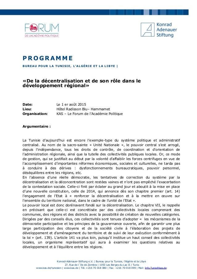 PROGRAMME BUREAU POUR LA TUNISIE, L'ALGÉRIE ET LA LIBYE | «De la décentralisation et de son rôle dans le développement rég...
