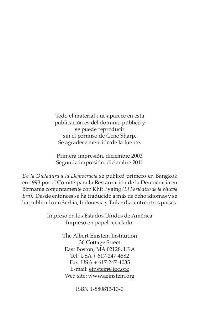 De la Dictadura a la Democracia  v  Contenido Prefacio  viii  Uno Enfrentando la Realidad de las Dictaduras 1 Un...