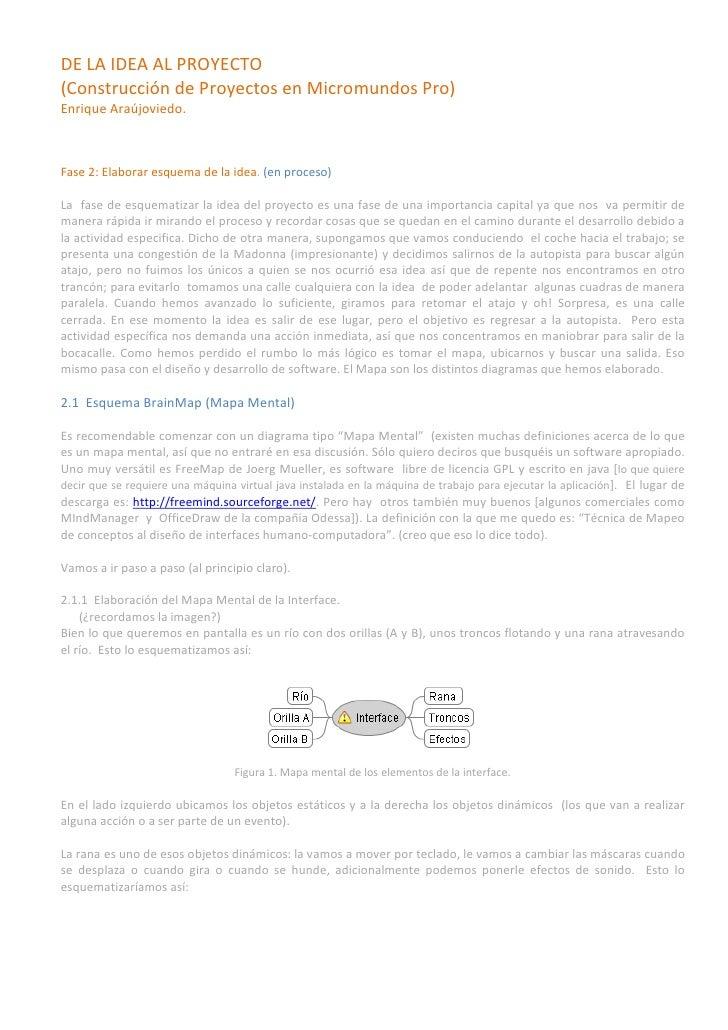 DE LA IDEA AL PROYECTO (Construcción de Proyectos en Micromundos Pro) Enrique Araújoviedo.    Fase 2: Elaborar esquema de ...